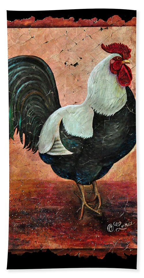 Rooster Bath Sheet featuring the painting Rooster Fresco by Lena Owens OLena Art