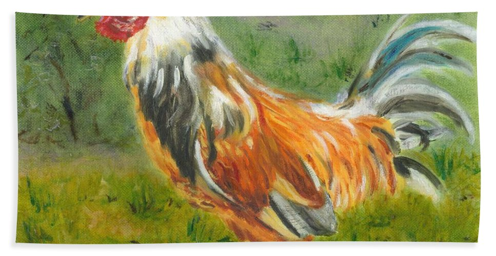 Rooster Bath Sheet featuring the painting Rooster Rules by Paula Emery