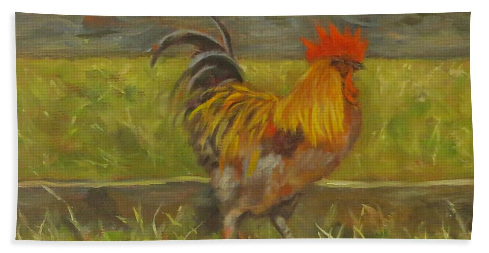 Rooster Bath Sheet featuring the painting Rooster Strut by Sandra Reeves