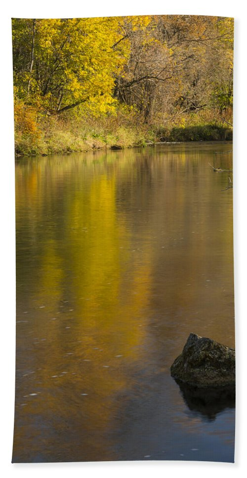 River Bath Sheet featuring the photograph Root River Autumn 2 by John Brueske