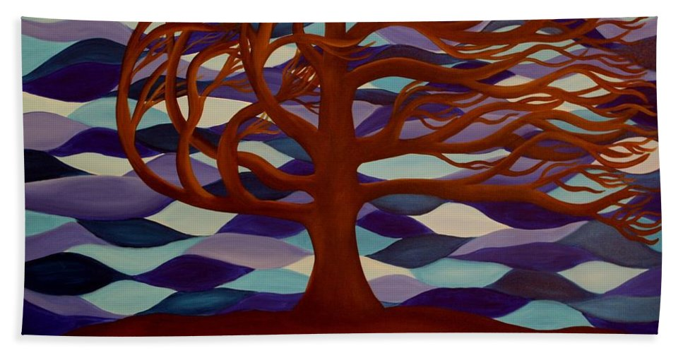 Tree Blowing In The Wind Bath Sheet featuring the painting Rooted by Janell R Colburn