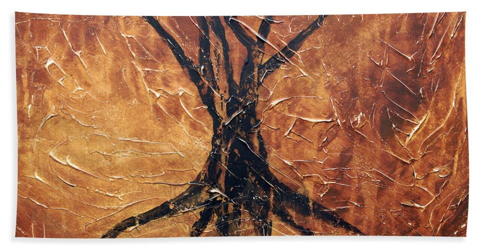 Landscape Bath Sheet featuring the painting Roots by Sergey Bezhinets