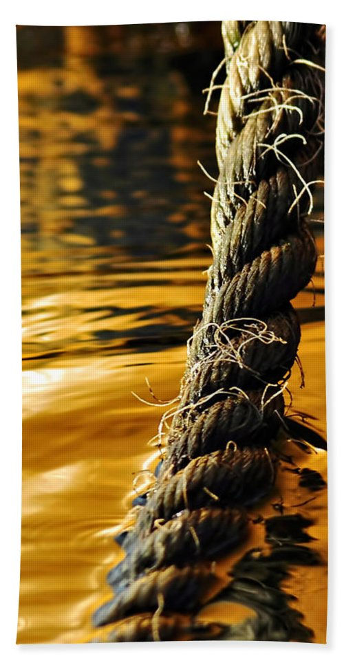 Rope On Liquid Gold Hand Towel featuring the photograph Rope On Liquid Gold by Kaye Menner