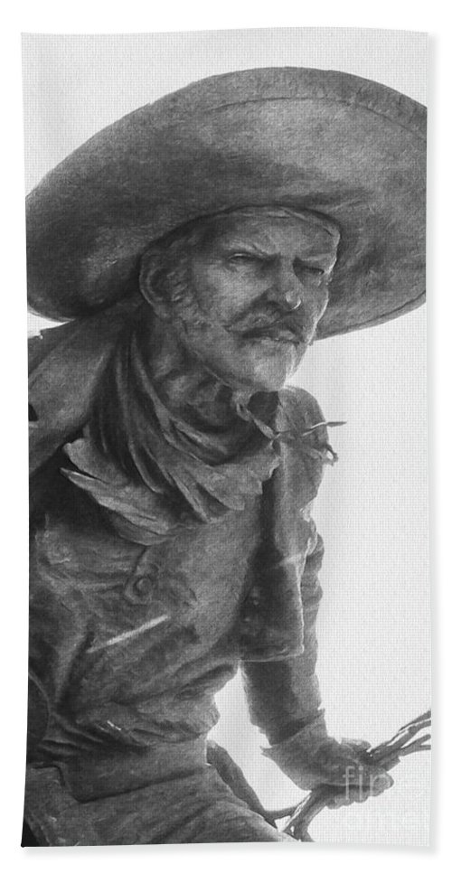 Pioneer Plaza Statue Statues Cowboy Cowboys Dallas Digital Art Photo Art Sculpture Sculptures Bath Sheet featuring the photograph Roper 4 by Bob Phillips