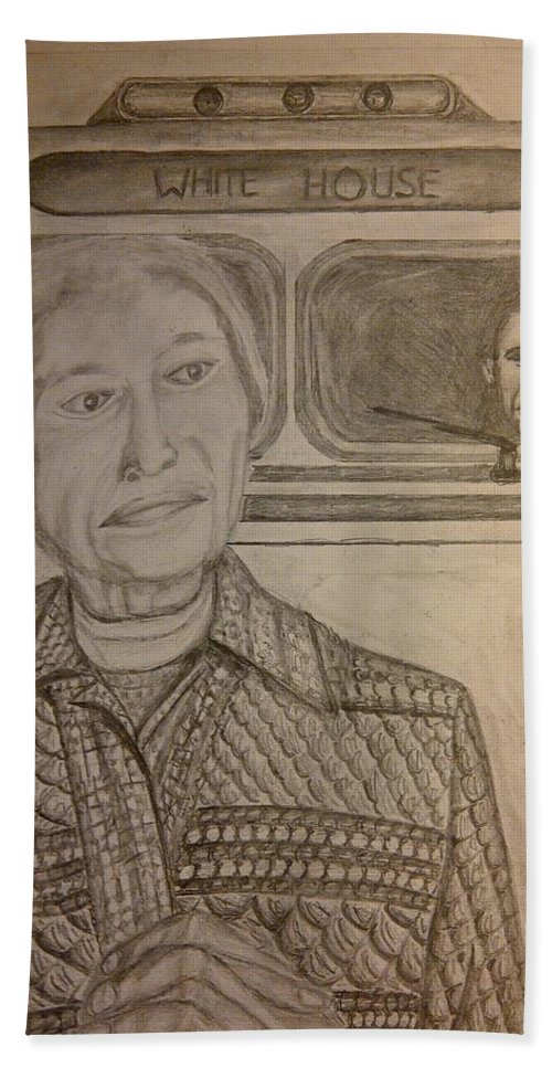 Rosa Parks Hand Towel featuring the drawing Rosa Parks Imagined Progress by Irving Starr