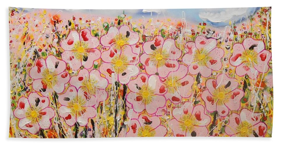 Contemporary Hand Towel featuring the painting Rosa Ruby Flower Garden by Gh FiLben
