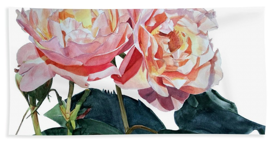 Greta Corens Artist Hand Towel featuring the painting Pink And Yellow Rose Anne by Greta Corens