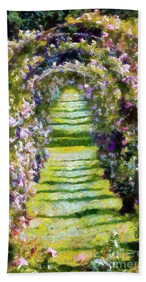 Arches Bath Sheet featuring the painting Rose Arch In Summer Sunshine by RC DeWinter
