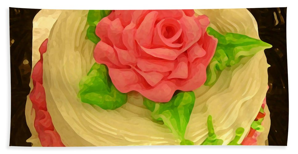 Food Bath Towel featuring the painting Rose Cakes by Amy Vangsgard