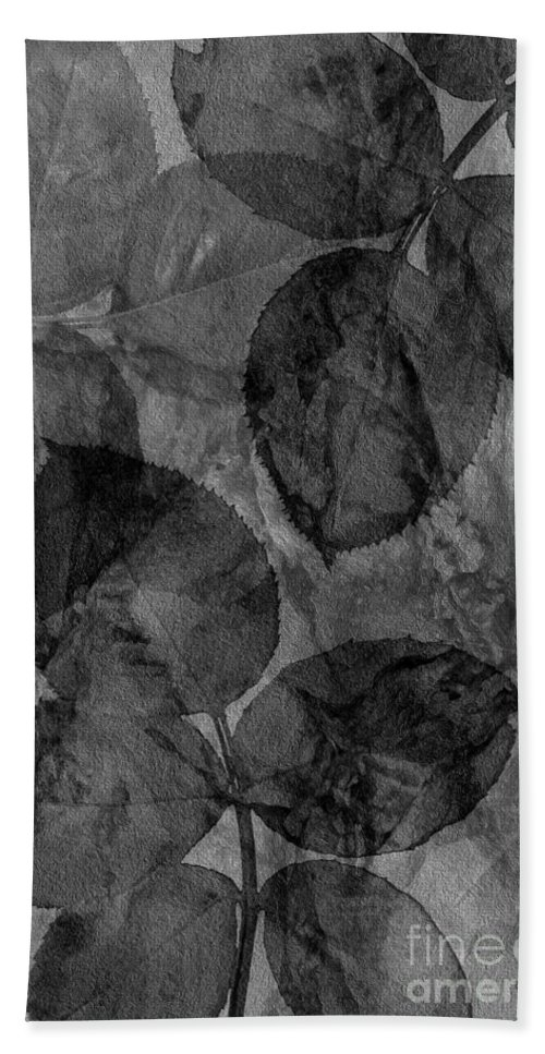 Claudia�s Art Dream Bath Sheet featuring the photograph Rose Clippings Mural Wall - Black And White by Claudia Ellis