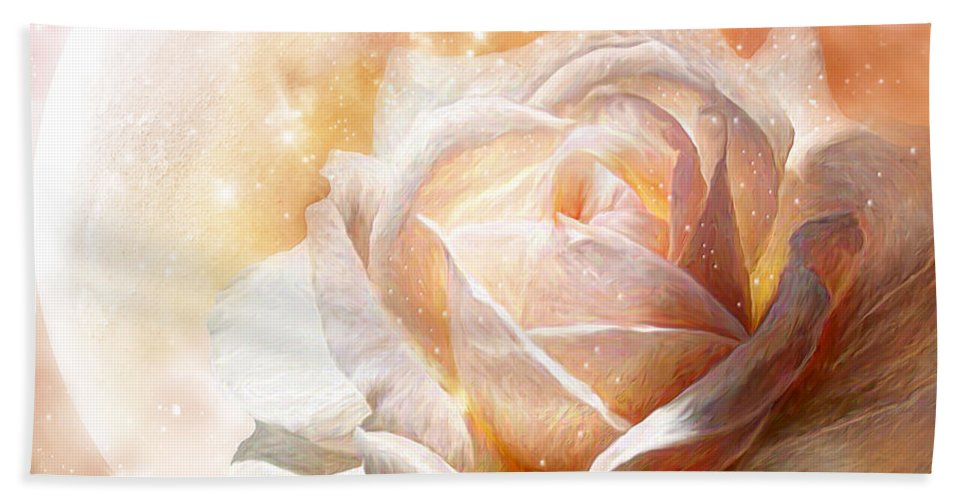 Rose Hand Towel featuring the mixed media Rose - Colors Of The Moon by Carol Cavalaris