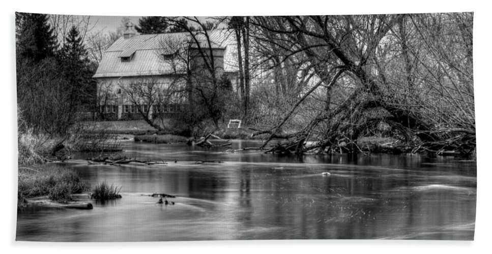 Farm Bath Sheet featuring the photograph Rose Farm Black And White by Thomas Young