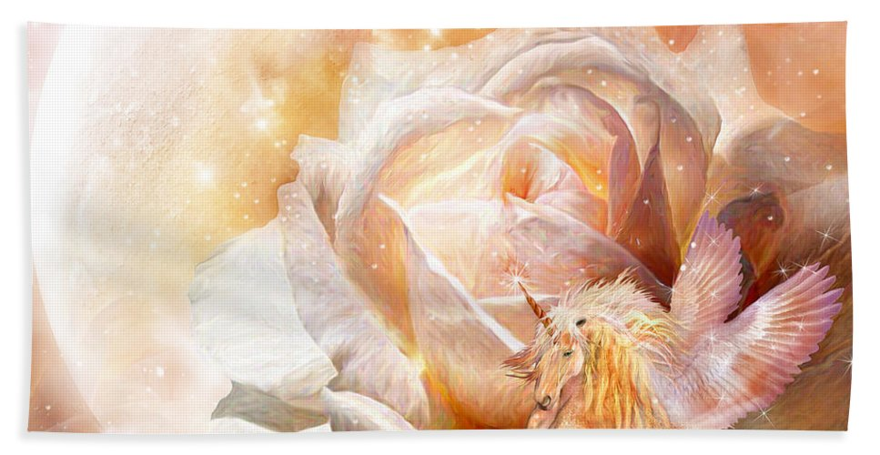 Rose Hand Towel featuring the mixed media Rose For A Unicorn by Carol Cavalaris