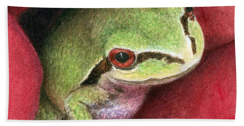 Frog Hand Towel featuring the painting Rose Frog by Pat Erickson