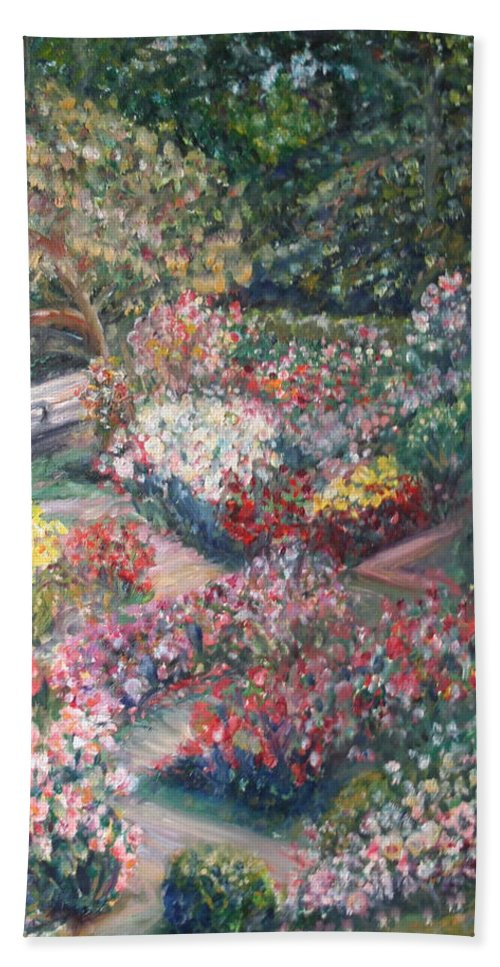Impressionist Landscape Hand Towel featuring the painting Rose Garden by Quin Sweetman