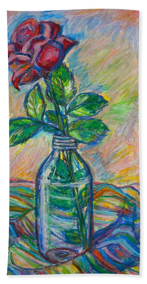 Still Life Bath Sheet featuring the painting Rose In A Bottle by Kendall Kessler