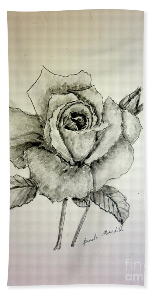 Rose Bath Sheet featuring the painting Rose In Monotone by Pamela Meredith