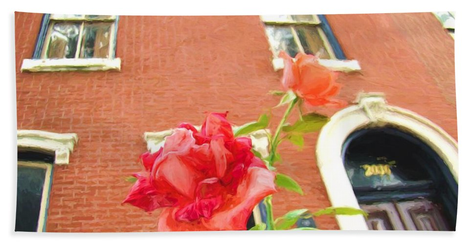 Rose Bath Sheet featuring the photograph Rose On Brownstone by Alice Gipson
