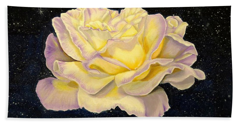 Flower Hand Towel featuring the painting Rose Stars by Zina Stromberg