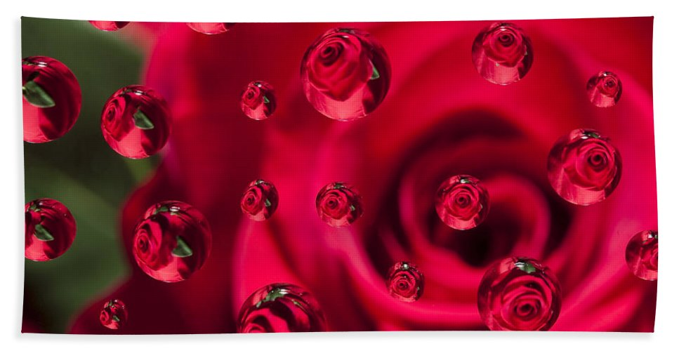 Flower Bath Sheet featuring the photograph Rose Syrup Abstract 1 A by John Brueske
