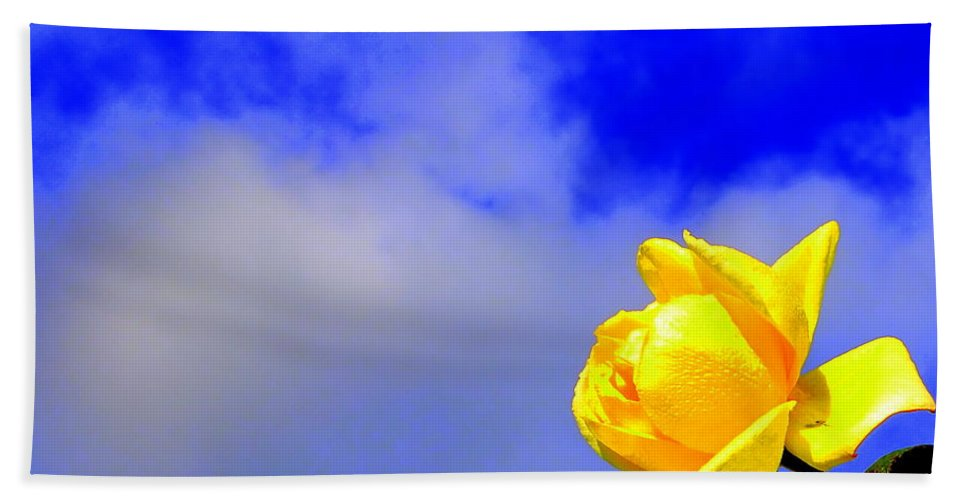 Rose Cloud Flower Stem Leaf Nature Spring Yellow Blue Green Floral Bath Sheet featuring the photograph Rose To The Sky by Guy Pettingell