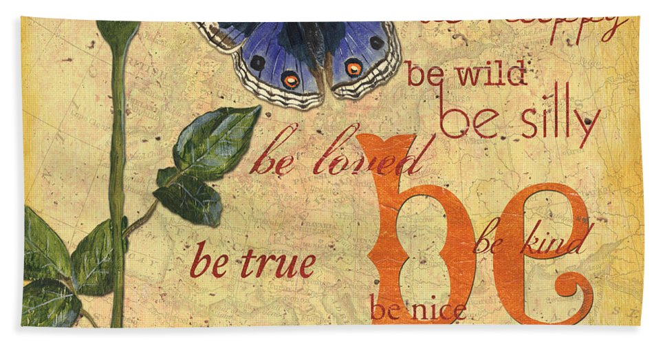 Butterflies Bath Sheet featuring the mixed media Roses And Butterflies 1 by Debbie DeWitt