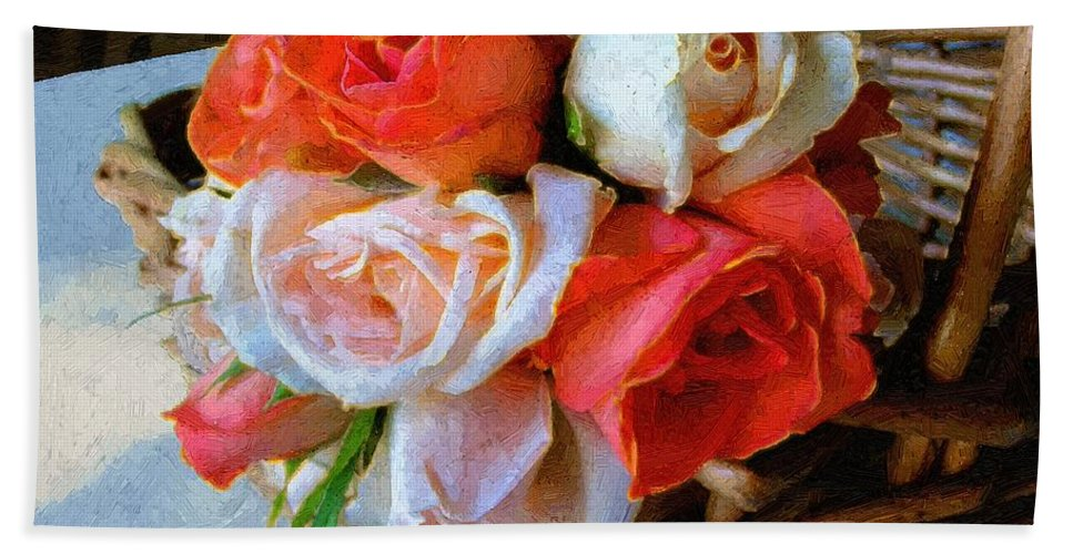 Still Life Hand Towel featuring the painting Roses Florentine by RC DeWinter