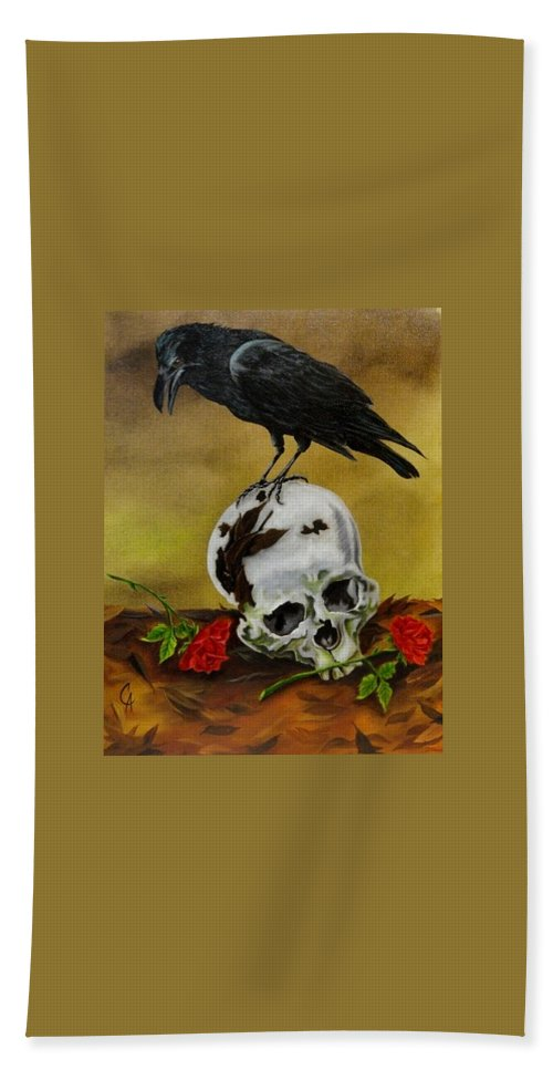 Raven Bath Sheet featuring the painting Roses For My Master by Carol Avants