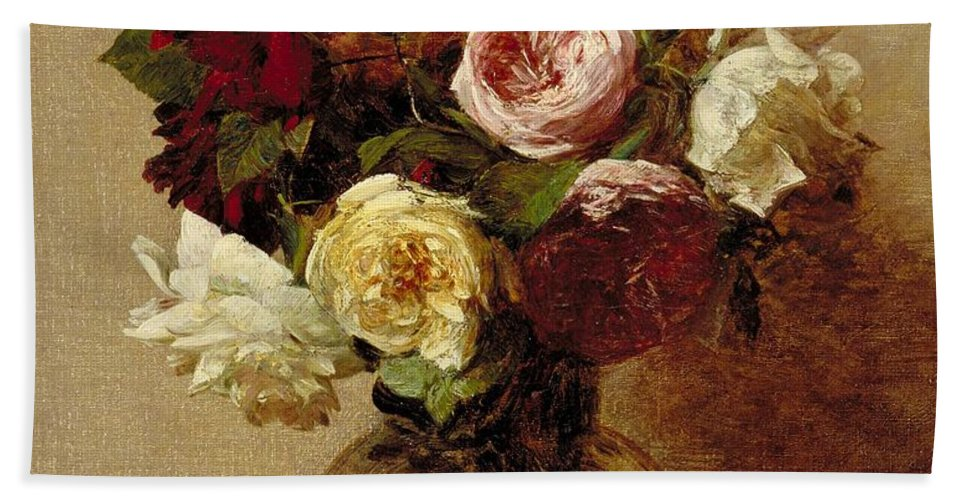Still-life Bath Towel featuring the painting Roses by Ignace Henri Jean Fantin-Latour