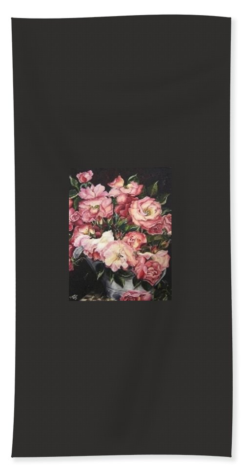 Pink Roses Floral Flowers Hand Towel featuring the painting Roses In A Watercan by Karin Dawn Kelshall- Best
