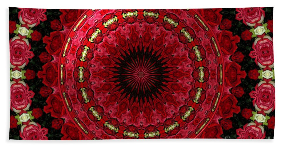 Red Roses Bath Sheet featuring the photograph Roses Kaleidoscope Under Glass 12 by Rose Santuci-Sofranko