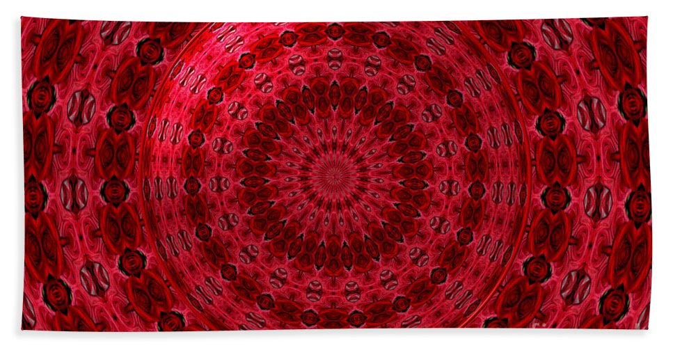 Red Roses Bath Sheet featuring the photograph Roses Kaleidoscope Under Glass 13 by Rose Santuci-Sofranko