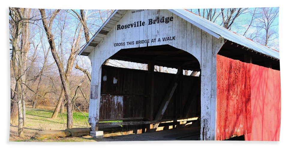 Roseville Bridge Hand Towel featuring the photograph Roseville Covered Bridge by David Arment