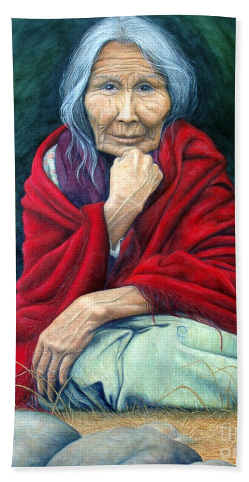 1st Nations Hand Towel featuring the painting Rosie Remembered by Joey Nash