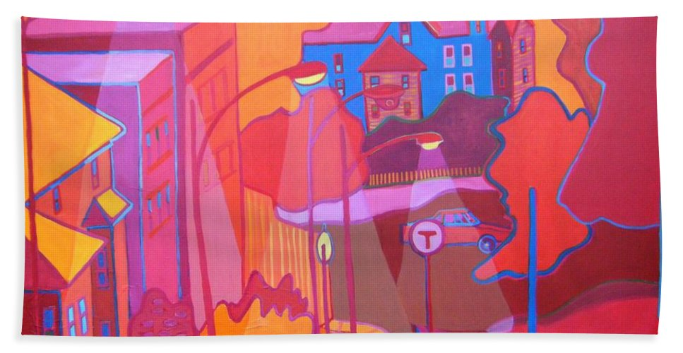 Cityscape Bath Towel featuring the painting Roslindale Never Looked so Red by Debra Bretton Robinson