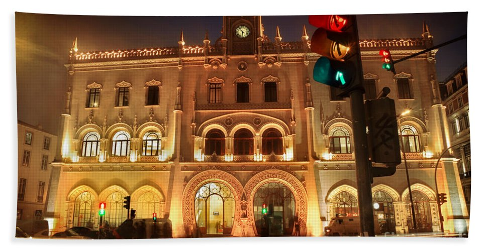 Access Hand Towel featuring the photograph Rossio Train Station by Carlos Caetano