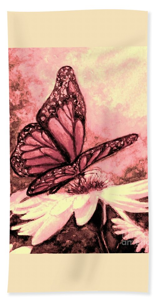 Rose-colored Butterfly Hand Towel featuring the painting Rosy Glow by Hazel Holland