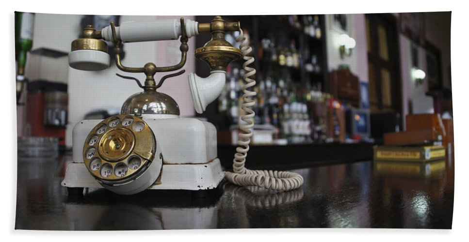 Bar Counter Hand Towel featuring the photograph Rotary Phone by Brian Kamprath