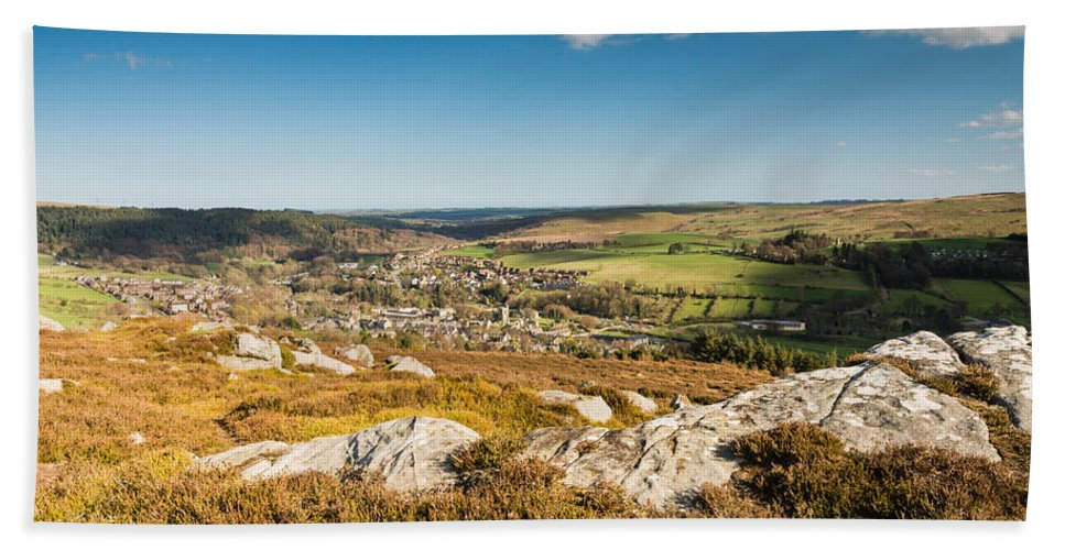 Northumberland Hand Towel featuring the photograph Rothbury Town From The Terraces by David Head