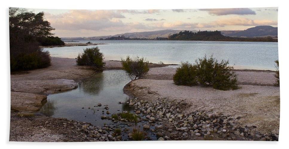 Thermal Landscape Hand Towel featuring the photograph Rotorua At Dusk by Venetia Featherstone-Witty