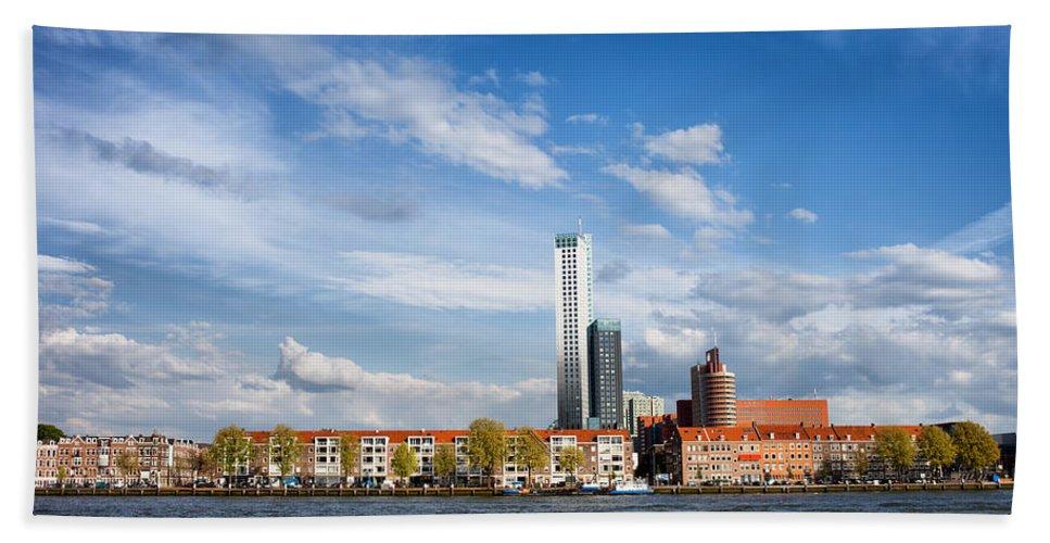Rotterdam Bath Sheet featuring the photograph Rotterdam Skyline In Netherlands by Artur Bogacki