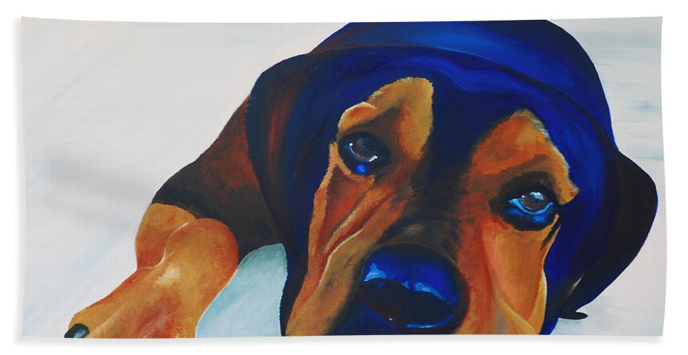Samson Hand Towel featuring the painting Rottweiler by Catt Kyriacou