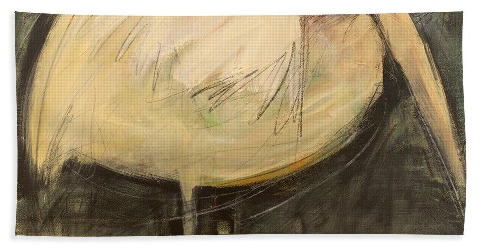 Bird Hand Towel featuring the painting Rotund Bird by Tim Nyberg