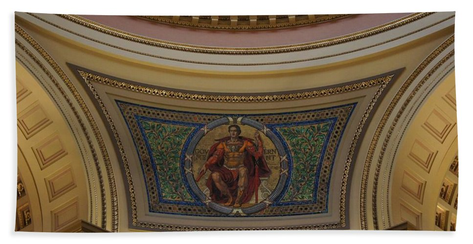 Wisconsin State Capitol Bath Sheet featuring the photograph Rotunda Details by Jenny Hudson