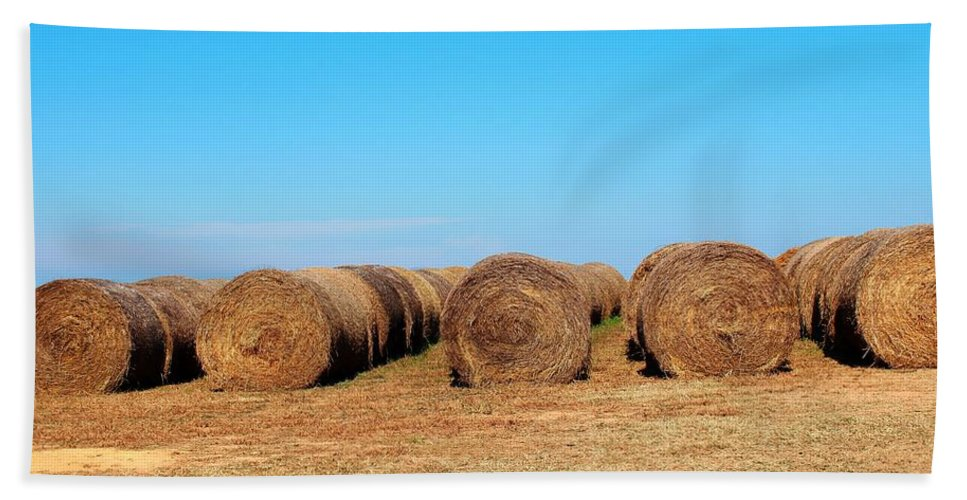 Feed Bath Sheet featuring the photograph Round Bales Of Hay by Cynthia Guinn