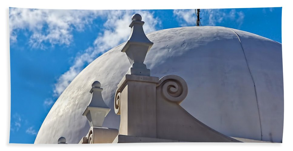 San Xavier De Bac Mission Hand Towel featuring the photograph Round Dome by Jon Berghoff