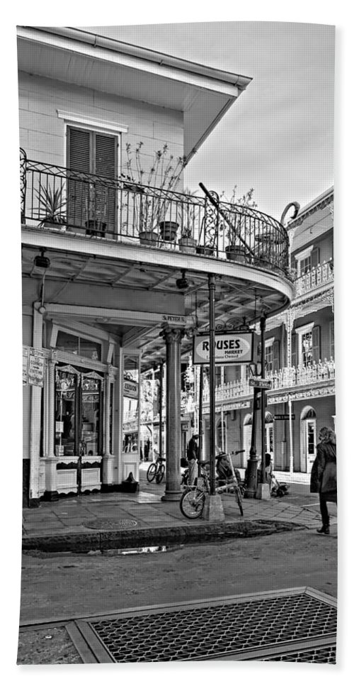 French Quarter Bath Sheet featuring the photograph Rouses Market Monochrome by Steve Harrington