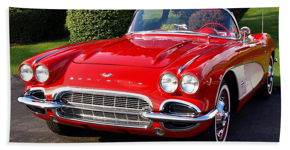 Vintage Bath Sheet featuring the photograph Route 66 - 1961 Corvette by John Waclo
