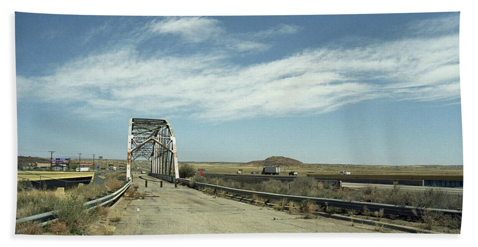 66 Bath Sheet featuring the photograph Route 66 Bridge - New Mexico by Frank Romeo