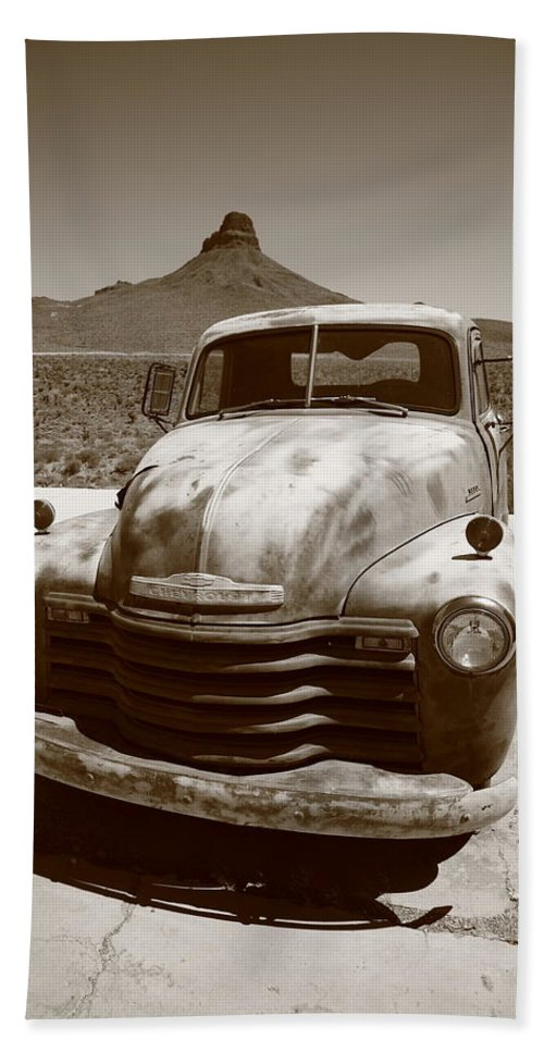 66 Bath Sheet featuring the photograph Route 66 - Classic Chevy by Frank Romeo